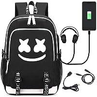 DJ Marshmello Mochila, V-mix Schoolbag Mochila para portátil Bolsa Fresca para Adolescentes Mochila Casual Bolso de Viaje con USB Puerto