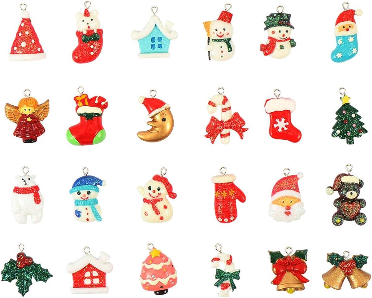 Supvox 24 Unids Encanto de Navidad Santa Claus Muñeco de Nieve Oso Resina Colgante Encantos de Artesanía de Navidad para La Fabricación de Joyas de Bricolaje Collar Pulsera Pendiente