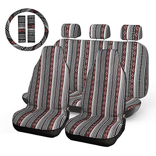 INFANZIA Baja Blanket Car Seat Covers Saddle Seat Cover Full Set with Steering Wheel Cover & Seat Belt Covers Universal Fits Cars, Trucks, SUV, Vans, 10Pcs, Black & Red