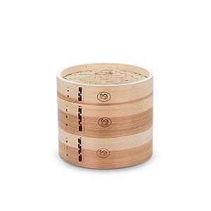 HUANGYIFU Chinese 7-12 Inch Handmade Food Wooden Steamer 2 Tiers Deep Wooden Basket - for Dumpling Dim Sum