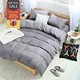 Uozzi Bedding Duvet Cover Set Queen Full, 3PC Reversible with Brushed Microfiber, Soft, Comfortable, Lightweight, Durable(Pure Gray, Queen)