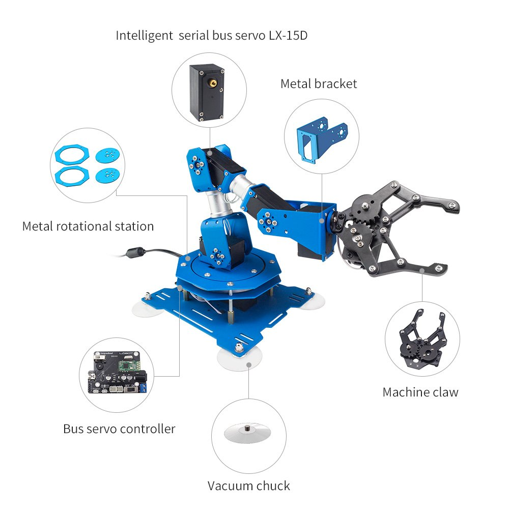 LewanSoul xArm 6DOF Full Metal Programmable Robotic Arm with Feedback of Servo Parameter, Wireless/Wired Mouse Control, Mobile Phone Programming for Arduino Scratch by Hiwonder (Image #2)