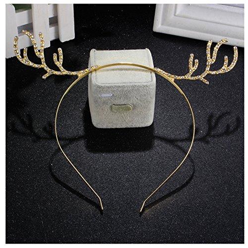 Cute Christmas Gift Reindeer Antlers Headbands Crystal Rhineston Deer Horn Headband Hair Band Gold