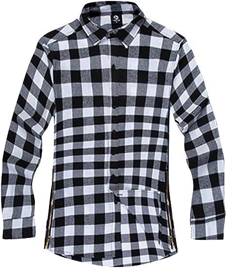 Yonglan Hombre Cuadros Camisas Casual Manga Larga Shirt Camisa De Leñador Tops Gris S: Amazon.es: Deportes y aire libre