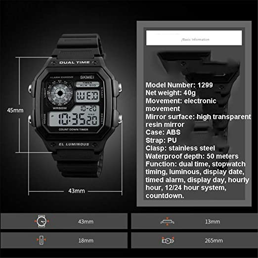 Fashion Square Electronic Watch/Men s Student Watch/Digital ...