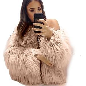 OURS Women's Long Sleeve Fluffy Long Hair Faux Fur Warm Coat (L, Pink)