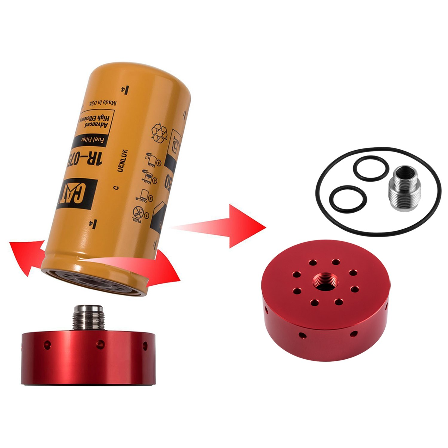 Amazon.com: Opall CAT Fuel Filter Adapter for Chevy/GMC Duramax Diesel 2001  2002 2003 2004 2005 2006 2007 2008 2009 2010 2011 2012 2013 2014 2015 2016  ...