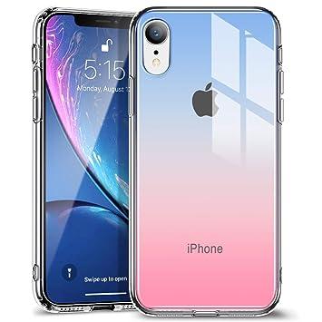 b04486689f ESR iPhone XR ケース 6.1インチ 強化ガラス 9H硬度加工 ガラスケース 薄型 TPUバンパー