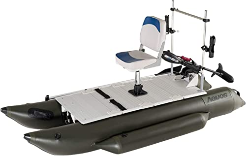 Inflatable Pontoon Boat with Stainless Steel Grab Bar and Folding Seat, Electric Transom Trolling Motor for One Person Fishing, Aluminum Floor [Aquos] Picture