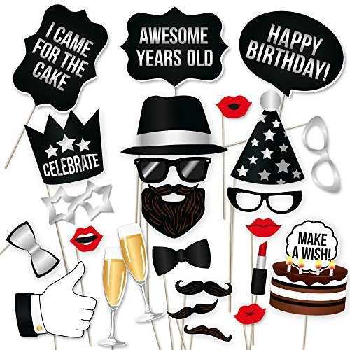 PartyGraphix DIY Happy Birthday Props for Photo Booth Stand - Suitable for His or Hers Party Celebration (34 Count, Silver Kit)