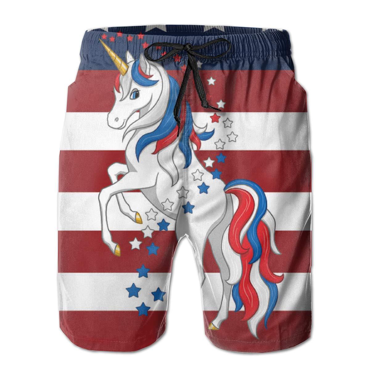 Mens Swim Trunks with Mesh Lining Pockets American Flag Unicorn Boys Polyester Board Shorts Swimwear