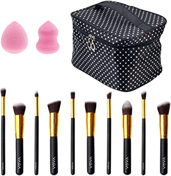 VAGA Kit Brochas De Maquillaje Profesional Con 10 Pinceles Para Maquillaje Con Estuche Tipo Neceser Y Kit De Esponjas De Make Up Color Rosa Para Aplicar Base Maquillaje Líquido, Crema O Primer: