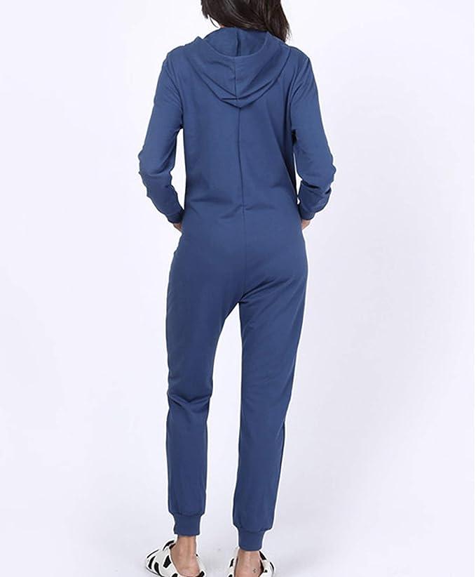 Einteiler Damen Langarm Jumpsuit Overall Reißverschluss Playsuit Nachtwäsche
