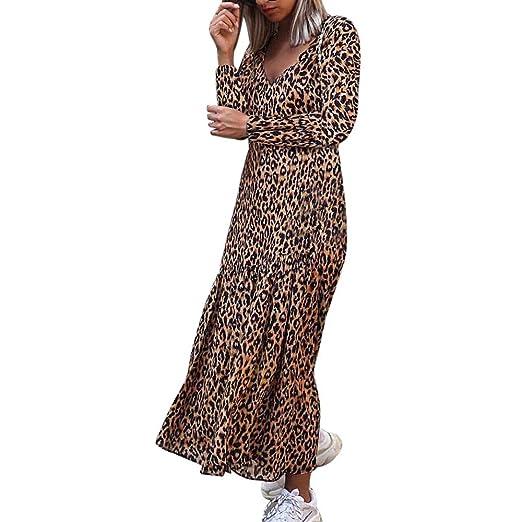 OOEOO Women Long Sleeve V-Neck Leopard Print Irregular Casual Maxi Dress (Khaki f90f838cb