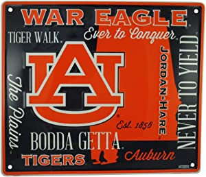 HangTime Auburn Tigers Sign,14 by 12 Inch Metal Wall Art, Auburn University Gifts, Dorm Room Decor for Football Fan, Decorations for Man Cave