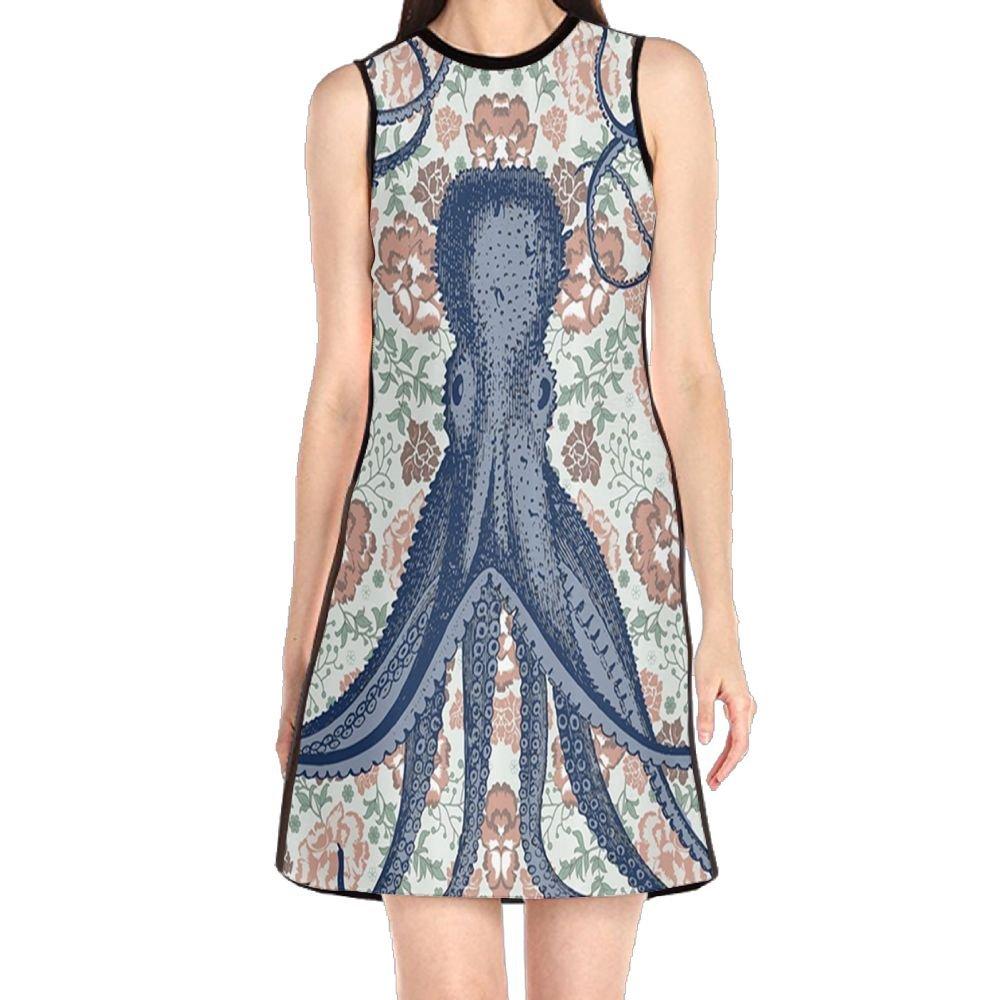 4cc34067d01 MONILO Kraken Personalized Decoration Octopus Floral Design with Tentacles  Women s Lady Sleeveless Mini Dress Print Party Dress Tank Dress at Amazon  Women s ...