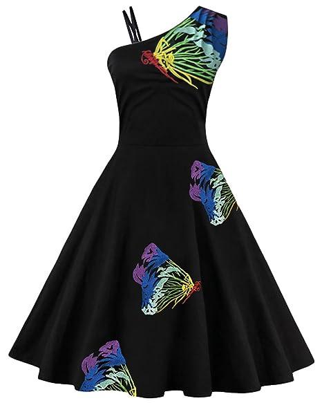Review ZAFUL Women Vintage One Shoulder Floral Picnic Dress Cocktail Party Dress Black