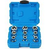 Renekton External Star Torx Socket Set, E10 to E24, Cr-V Steel, 1/2-Inch Drive Female E-Torx, 9-Piece Set