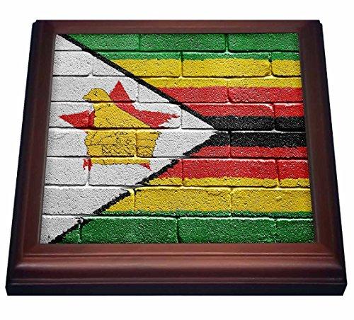 3dRose Carsten Reisinger Illustrations - National flag of Zimbabwe painted onto a brick wall Zimbabwean - 8x8 Trivet with 6x6 ceramic tile (trv_157017_1)