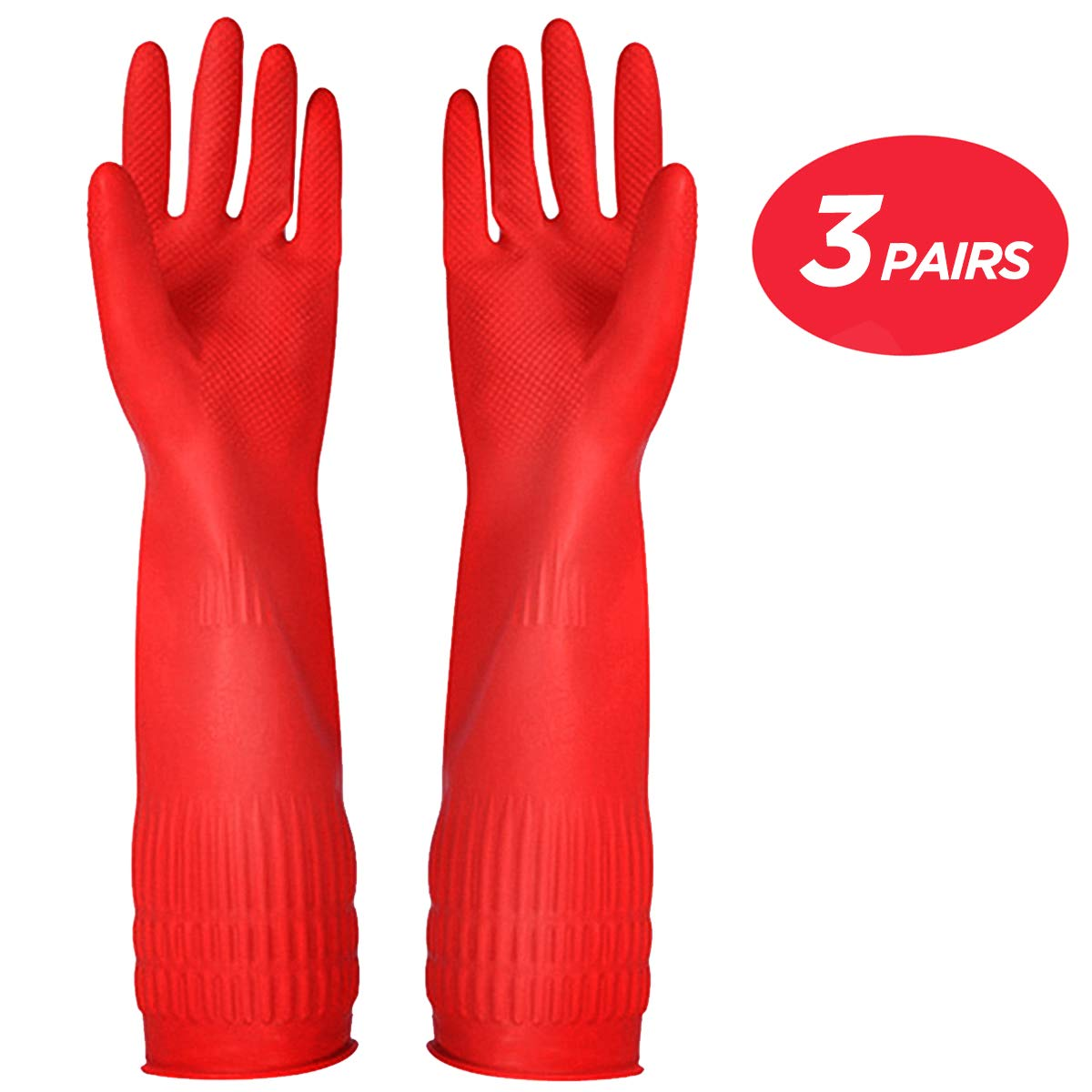 Rubber Cleaning Gloves Kitchen Dishwashing Glove 3-Pairs,Waterproof Reuseable.(Large)