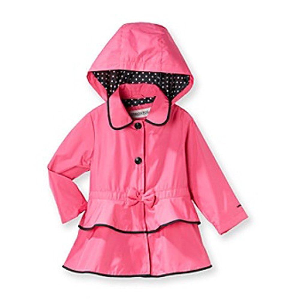 73b4fb69b4a4 Amazon.com  London Fog Little Girls Pink   Black Tier Ruffled Hooded ...