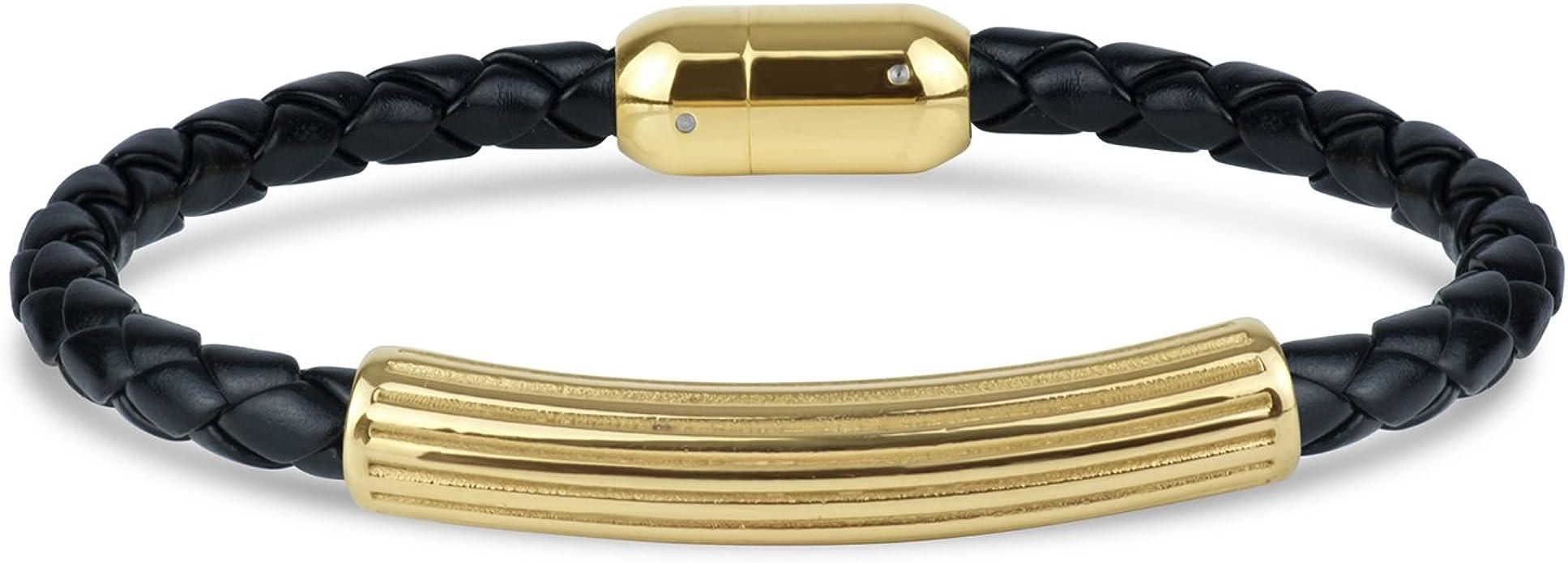 Mens Stainless Steel Gold IP Center Braid Bracelet 8.5