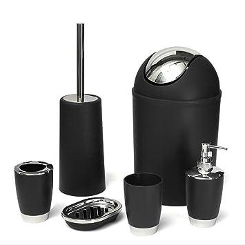 JJOnlinestore – juego de accesorios de baño, de plástico, 6 unidades, dispensador de jabón líquido, soporte para cepillo de dientes, vaso para Enjuague, ...