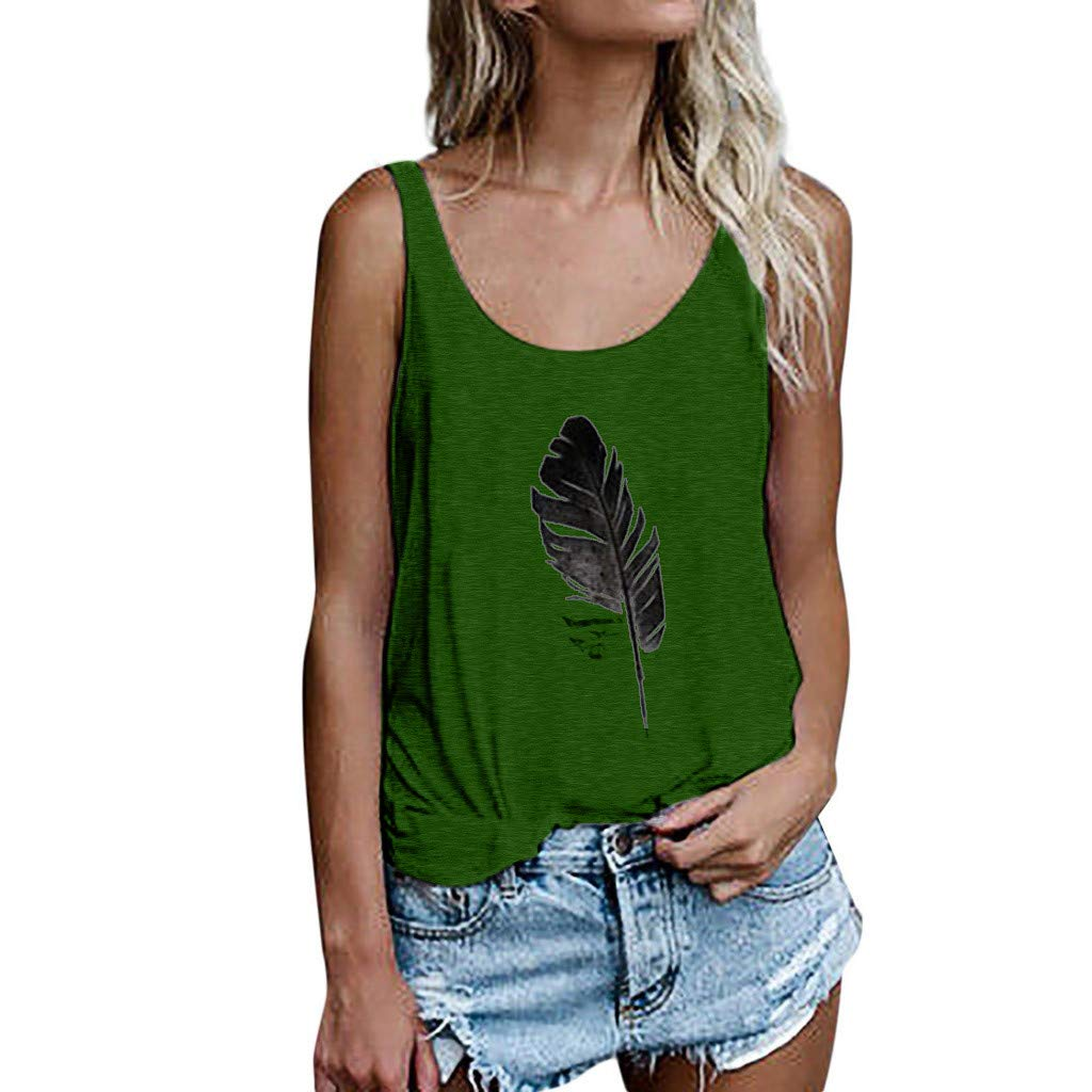 2019 New Vest for Women,Chaofanjiancai Ladies Leaf Print Tank Tops Sleeveless Loose Crop Tops Blouse Casual T-Shirt Green
