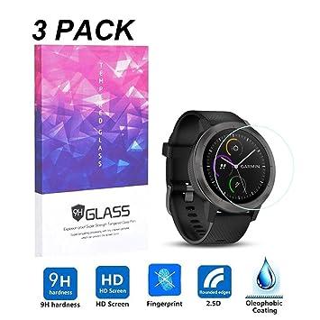 LUXACURY Garmin Vivoactive 3 - Protector de Pantalla para Garmin Vivoactive 3 GPS Smartwatch, Alta definición, dureza 9H, antiarañazos, sin Burbujas