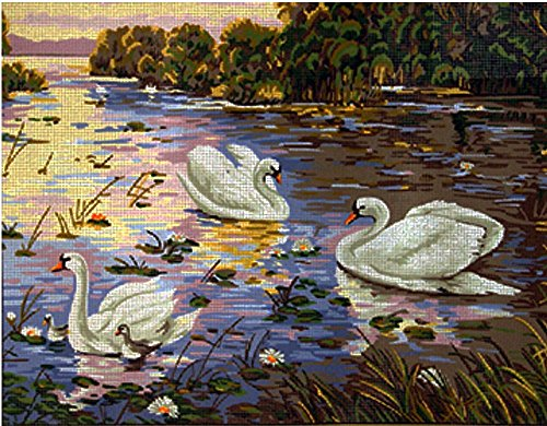 (SWANS IN THE RIVER NEEDLEPOINT CANVAS FROM GOBELIN #14.820 NEEDLEPOINT CANVAS ONLY, NOT A KIT)