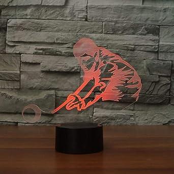 3D Lámpara LED Juego De Billar Hombre Botón Táctil Regalo De ...