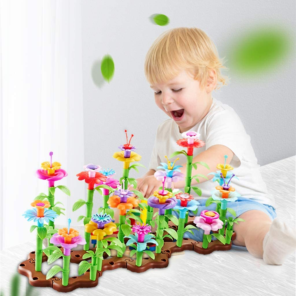 VNVDFLM Flower Garden Building Toys Plastic Set |104 Pcs Assembly Garden | Building Blocks Educational Creative Playset | A Great STEM Toy for Kids!