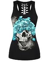 Ensasa Women's Fashion Skull Flower Death Camisole Halter Top Sleeveless T-shirt (S-XXL)