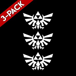 """Bargain Max Decals (3X Pack Triforce Wings Zelda Sticker Decal Notebook Car Laptop 6"""" (White)"""