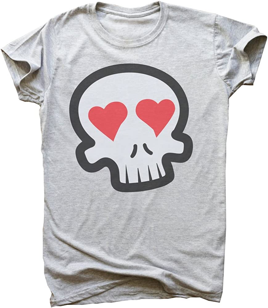 IDcommerce Cool Skull with Heart Shaped Eyes Mens T-Shirt Extra Large Gray