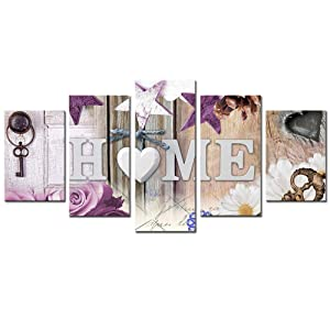 "AWLXPHY Decor Heart of Home Love Canvas Wall Art Print Painting Purple 5 Panels Framed for Living Room Decoration Modern Still Life Home Love Stretched Artwork Giclee Wedding Gift (Purple, 40"" Wx20 H)"