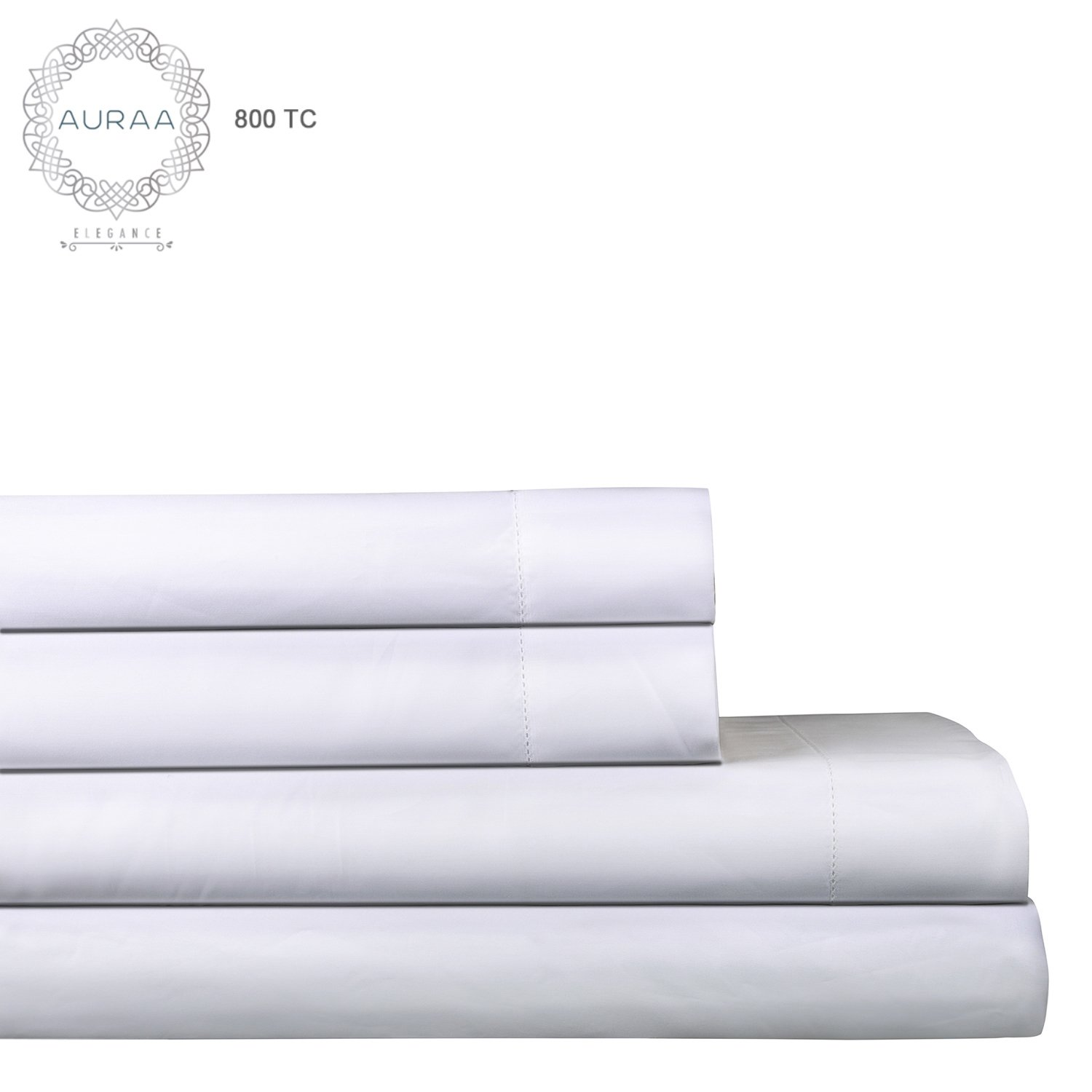 AURAA Elegance 800 Thread Count 100% American Supima Long Staple Cotton Sheet Set,4 Pc Set, Queen Sheets Sateen Weave,Hotel Collection Soft Luxury Bedding,Fits Upto 18'' Deep Pocket,White