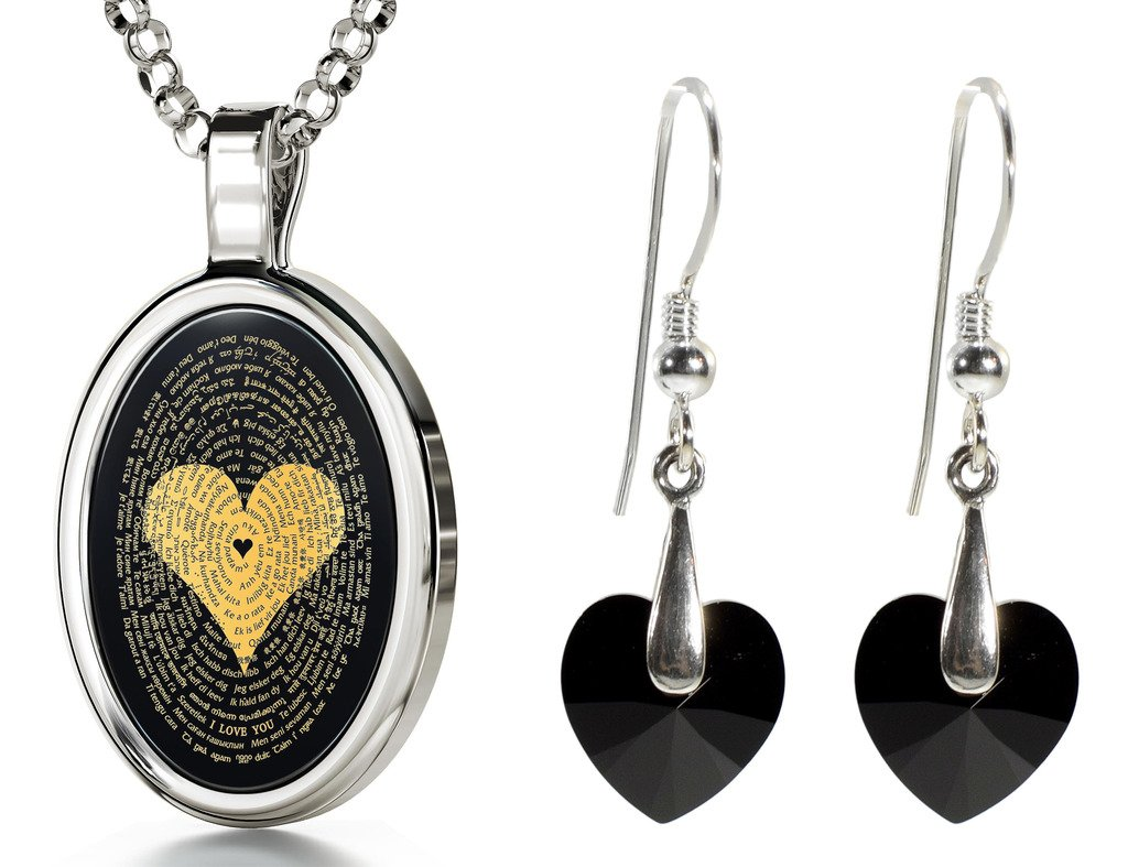 925 Silver I Love You Necklace 120 Languages Inscribed Onyx and Crystal Heart Earrings Jewelry Set, 18'' by Nano Jewelry