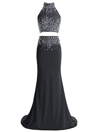 Bbonlinedress Long Mermaid Two Piece Formal Prom Gowns Beaded High Neck Evening Dresses Black 2
