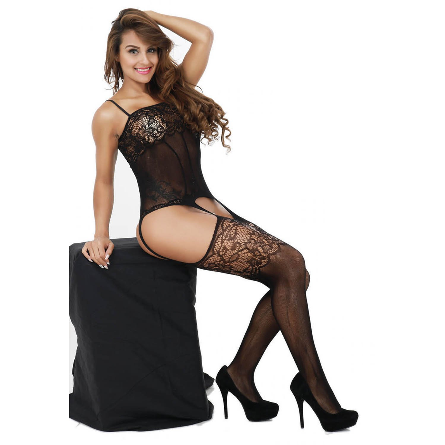 32daa5e6f1 Young17 Sexy Lace Hollow Out Spaghetti Strap Fishnet Floral Mesh  Bodystockings Bodysuit Lingerie (Black)   Shops   Clothing
