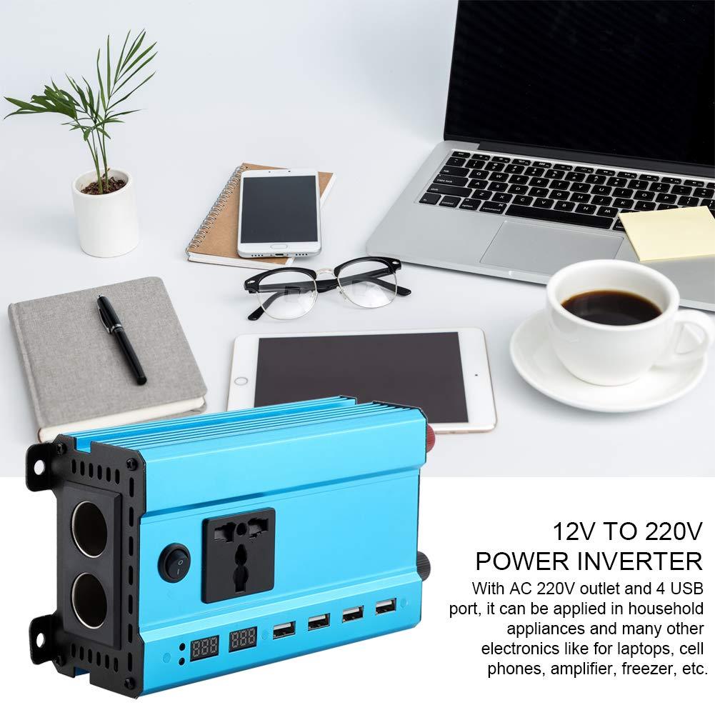 DC 12V a AC 220V Pantalla Digital LED Convertidor de autom/óvil Inversor de Corriente con 4 USB 500W Wandisy DC 12V a AC 220V LED Pantalla Digital Auto Car Power Inverter con 4 USB 500W