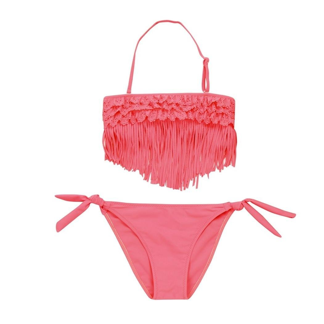 Coolster 2PC Kinder Mädchen Sommer Bikini Set Quaste Tops & Slips Bademode