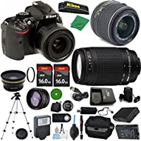 Nikon D5200 - International Version (No Warranty), 18-55mm f/3.5-5.6 DX VR, Nikon 70-300mm f/4-5.6G, 2pcs 16GB Memory, Case, Wide Angle, Telephoto, Flash, Battery, Charger