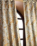 Blue Copper Woven Silk Heavy Lined Living Room Window Curtain Panel Drape (52″W X 96″L) For Sale