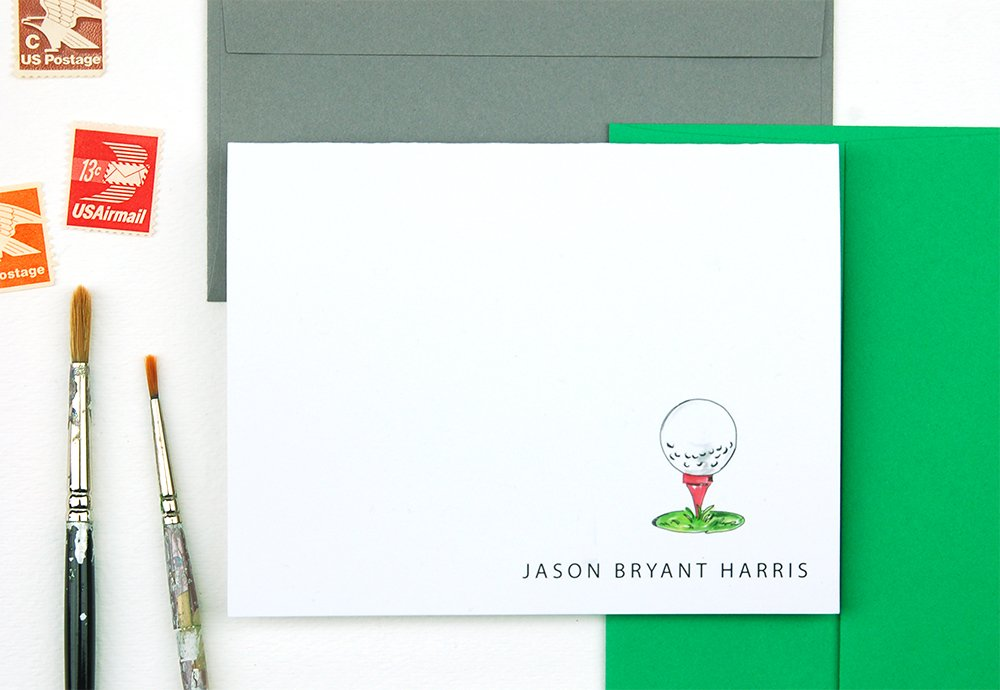 Golf Gifts for Men Personalized Stationery Set, Set of 10 Folded Notecards by EIGHT21 Studios