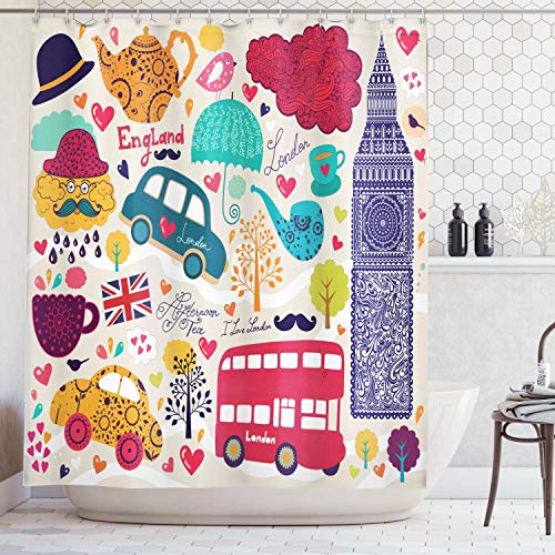 Retro Shower Curtain London Decor by, Colorful Symbols Painting Style Red Bus Big Ben Tea Pot Cup Umbrella Hat Retro Cab Image, Fabric Bathroom Set with Hooks, Beige Yellow Blue Red Purple 60x72 in