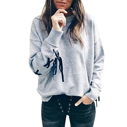 Mujeres suéter O cuello casuales sudadera de proasuéter recortar Tops suelta abrigos deportivos Jersey (M