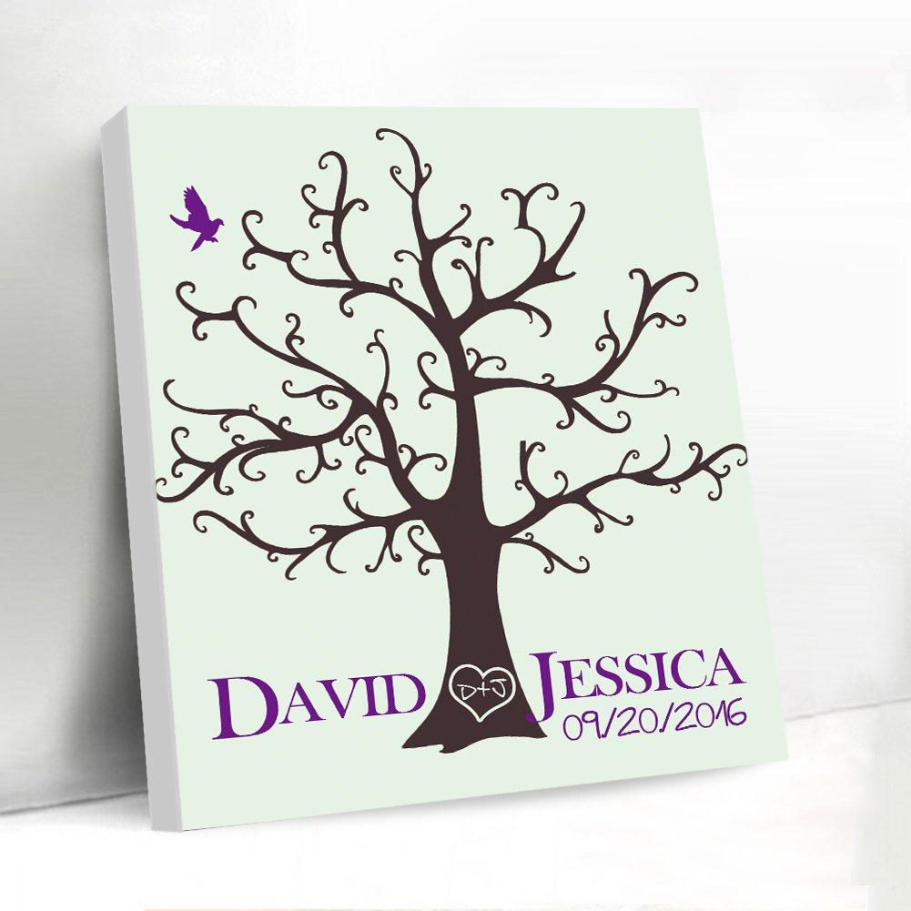 Custom Guest Book for Wedding Fingerprints Tree Guestbook Sign Wedding Favors DIY Guest Book Signature Sign-in Book Canvas Fingerprints Tree Painting with Ink Pads