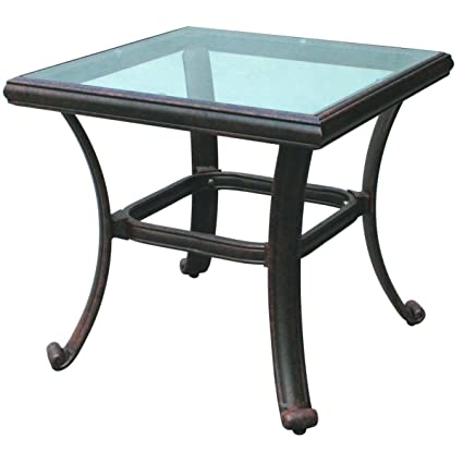 Tremendous Darlee Patio Square End Table With Glass Top In Antique Bronze Interior Design Ideas Tzicisoteloinfo