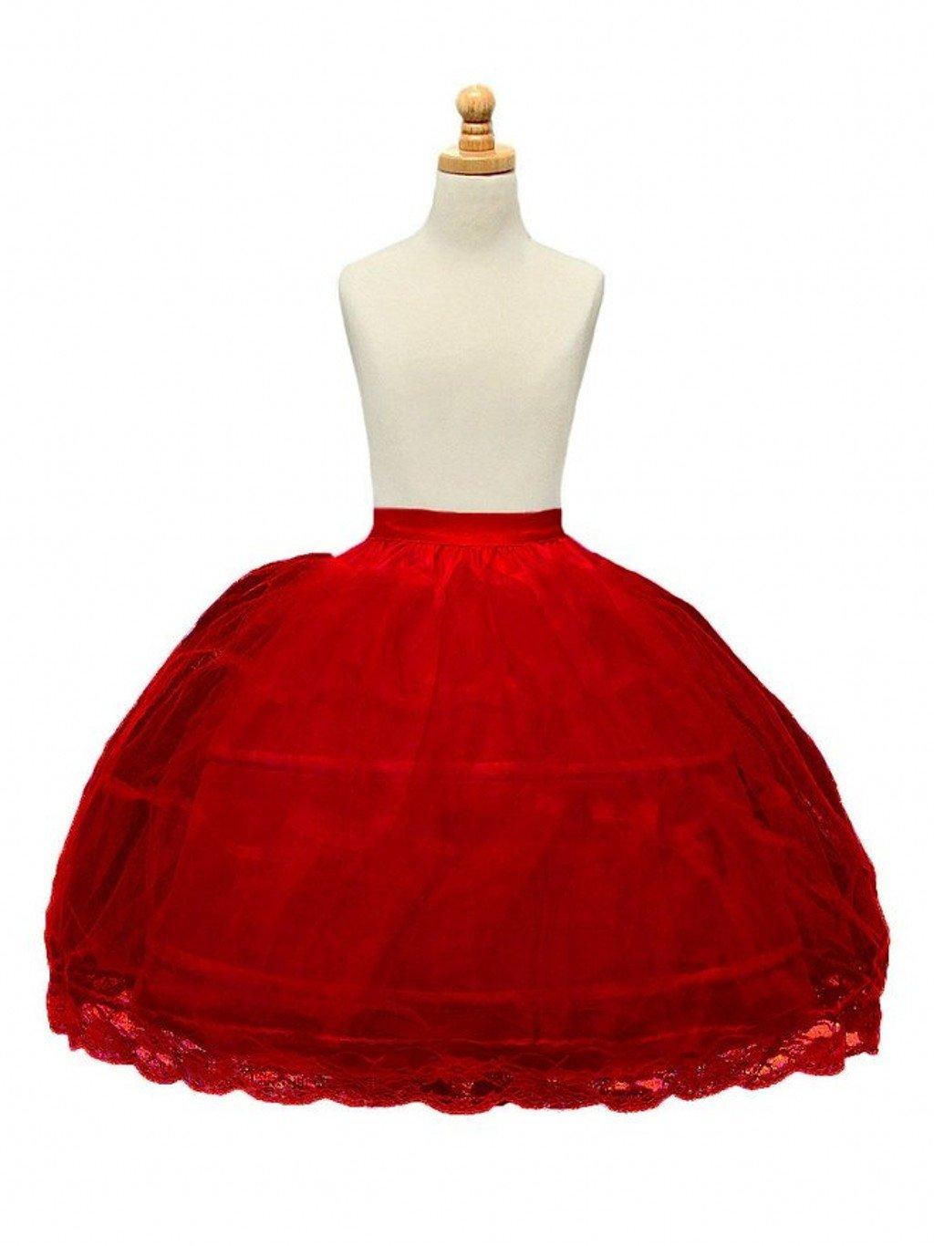 BRL MALL 2 Hoop White Girls' Petticoats Children Slip Flower Girl Petticoat (Red)